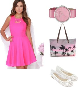 -Robe : Dee Elle At Ease Hot Pink Skater Dress -Ballerine blanche
